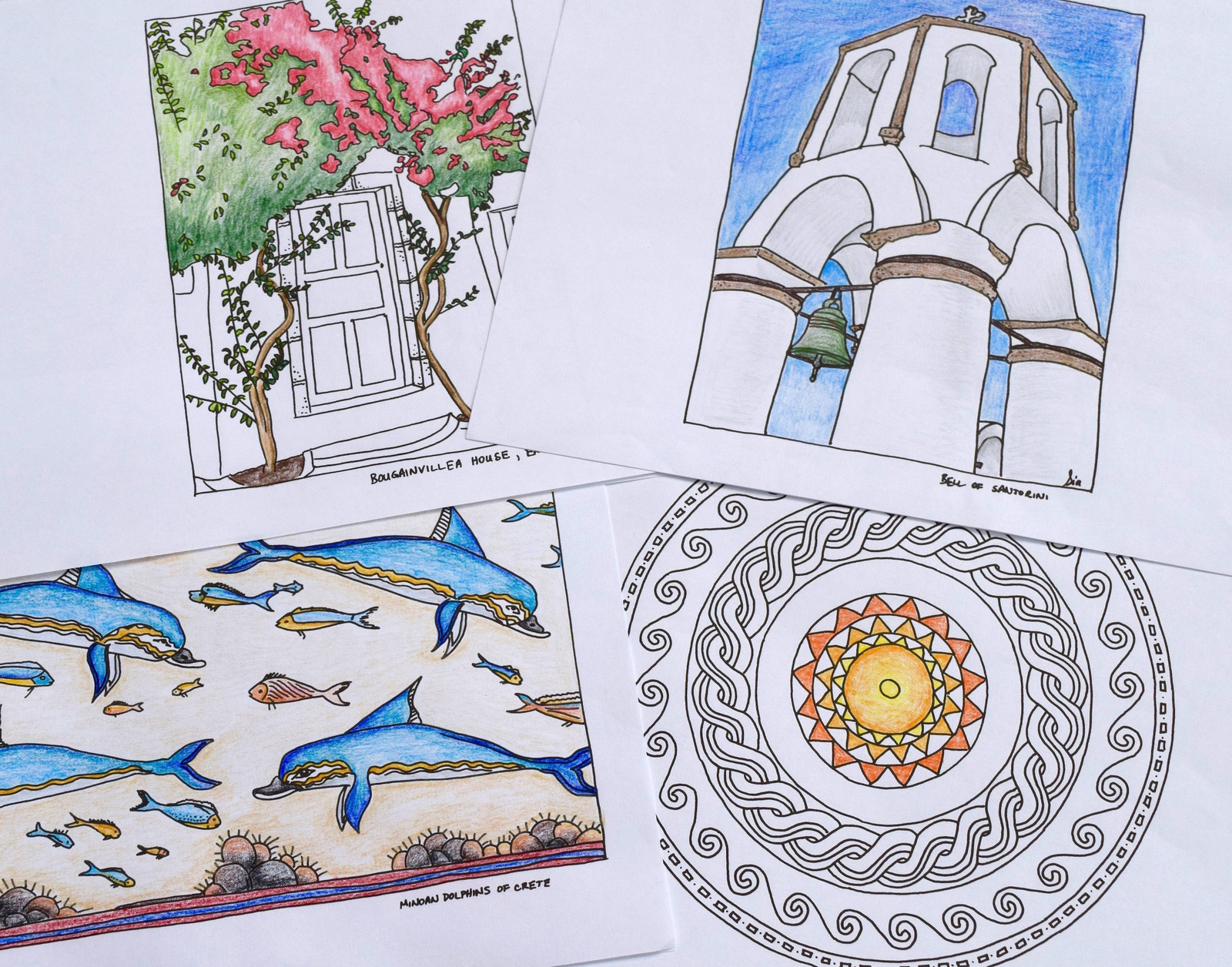 Coloring pages with scenes of Greece