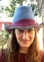 Front view of crochet felted fedora
