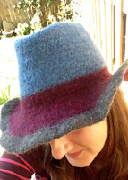 Side/top view of crochet felted fedora