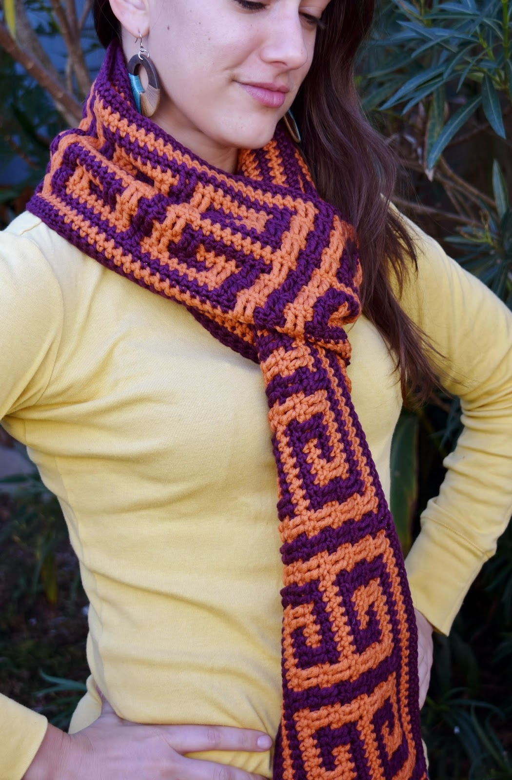 Person wearing the square key scarf